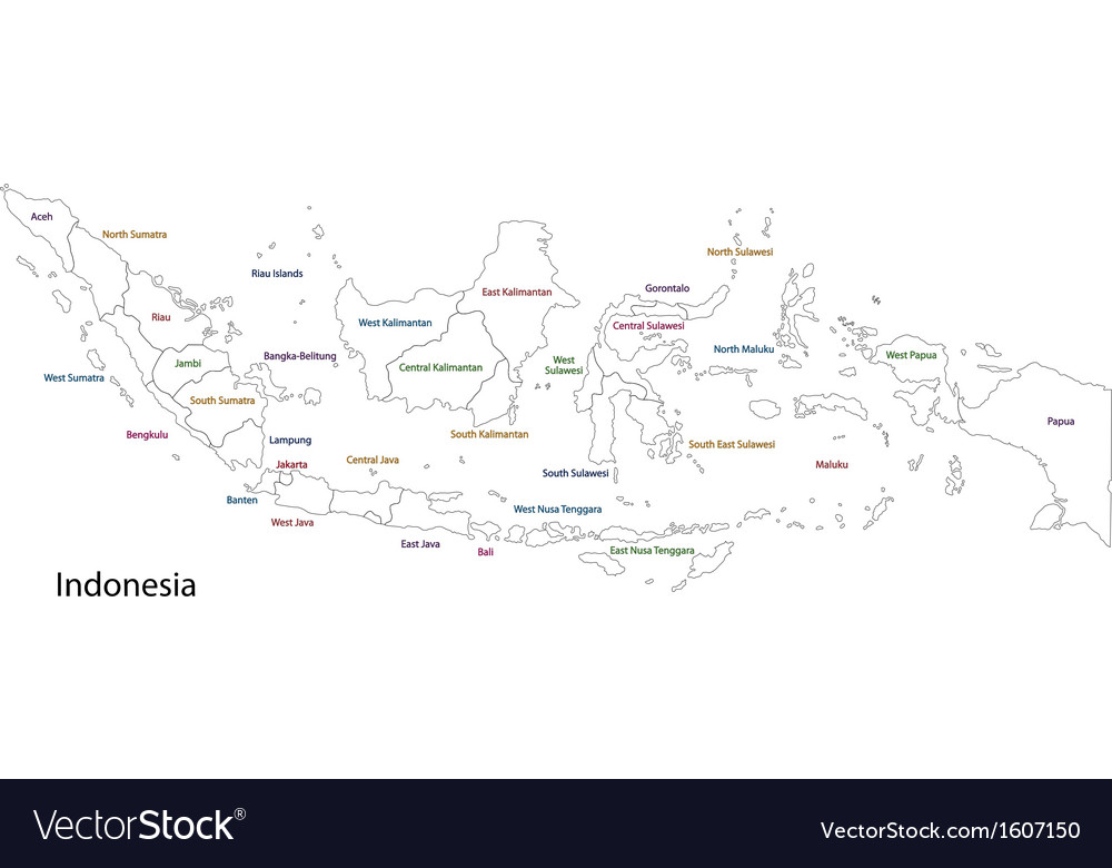 Outline indonesia map vector | Price: 1 Credit (USD $1)