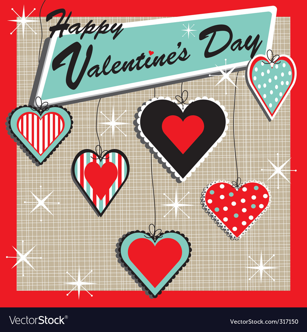 Retro valentine's heart ornament vector | Price: 1 Credit (USD $1)