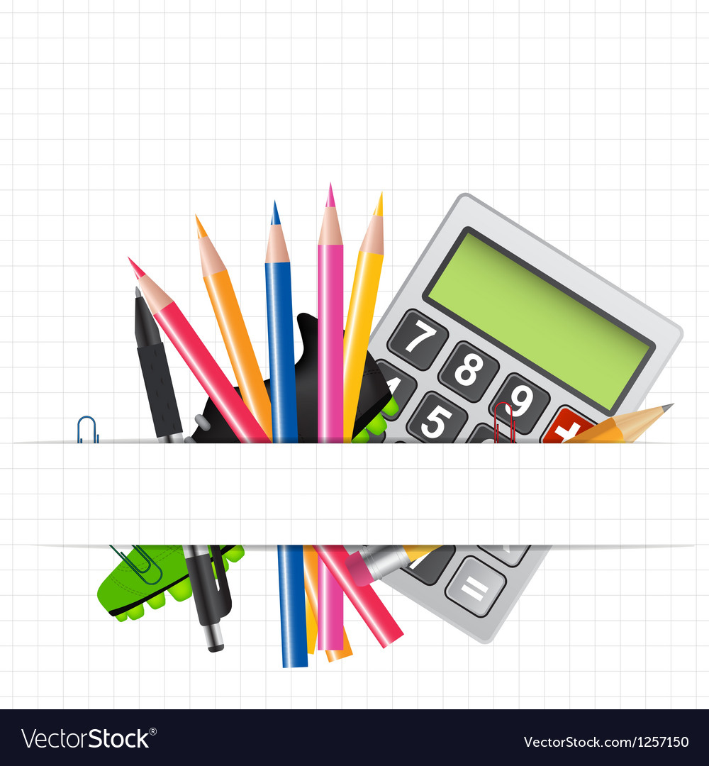 School theme background with different tools vector | Price: 3 Credit (USD $3)