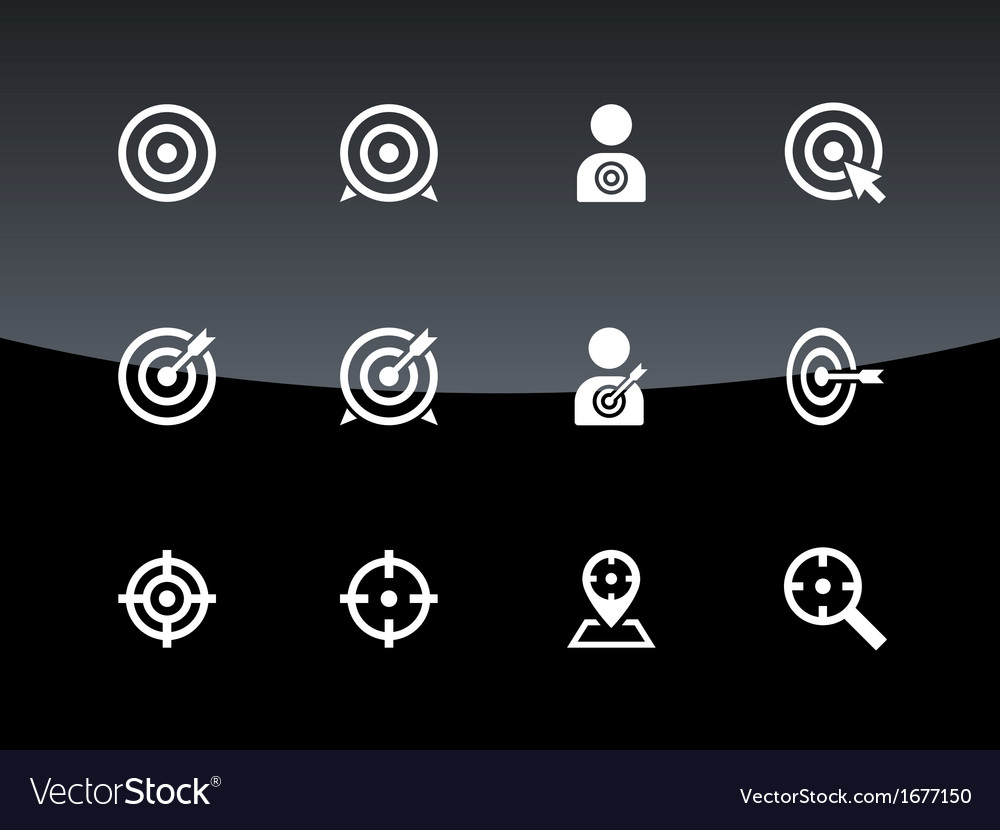 Target icons on black background vector | Price: 1 Credit (USD $1)