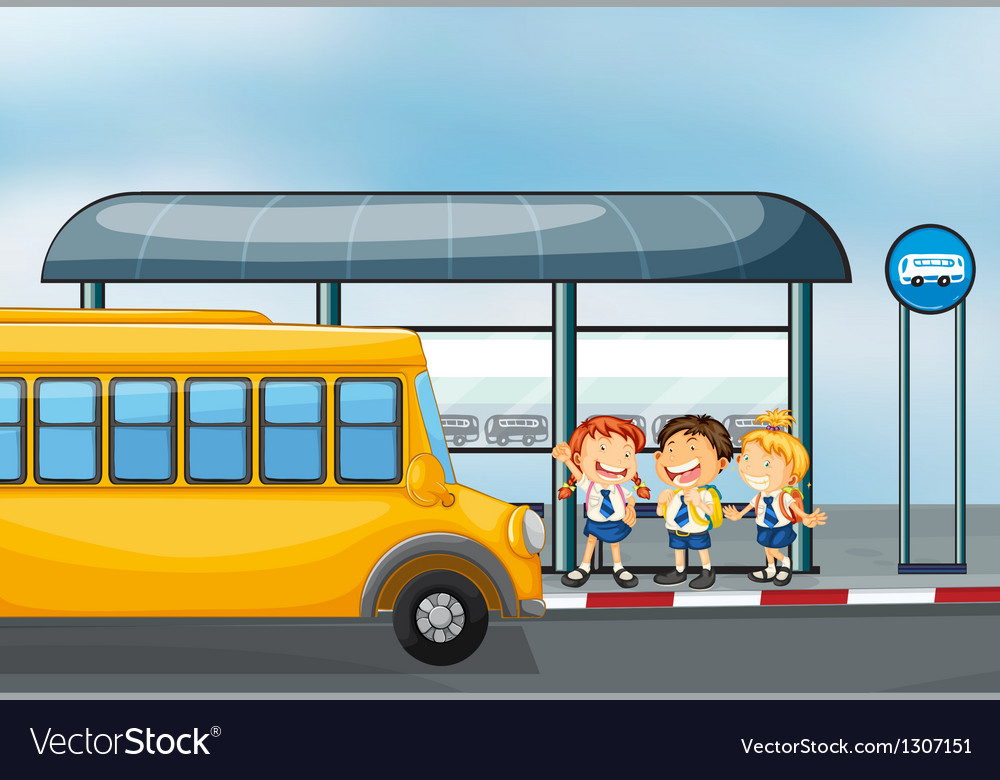 A yellow school bus and the three kids vector | Price: 1 Credit (USD $1)