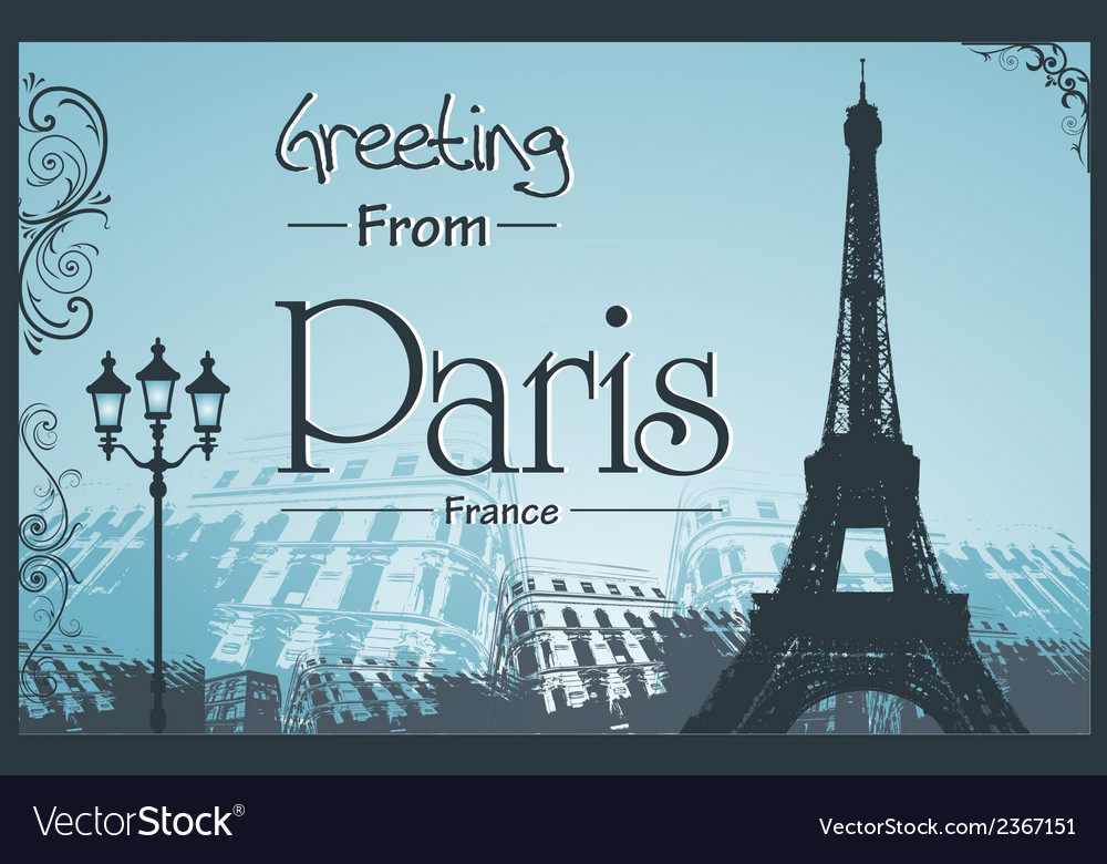 Copyspace retro style poster with paris background vector | Price: 1 Credit (USD $1)