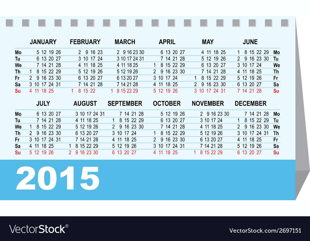 Desk calendar 2015 template vector   Price: 1 Credit (USD $1)