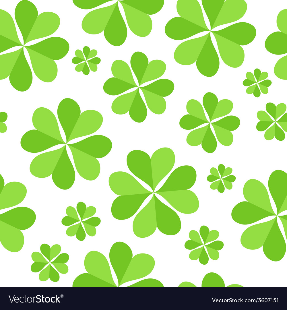Green clover leaves seamless pattern background vector | Price: 1 Credit (USD $1)
