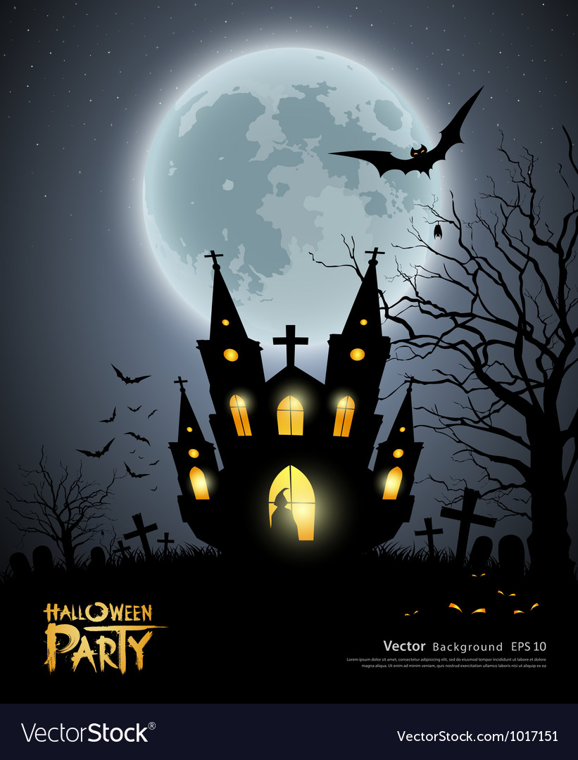 Halloween party house scary background vector | Price: 3 Credit (USD $3)