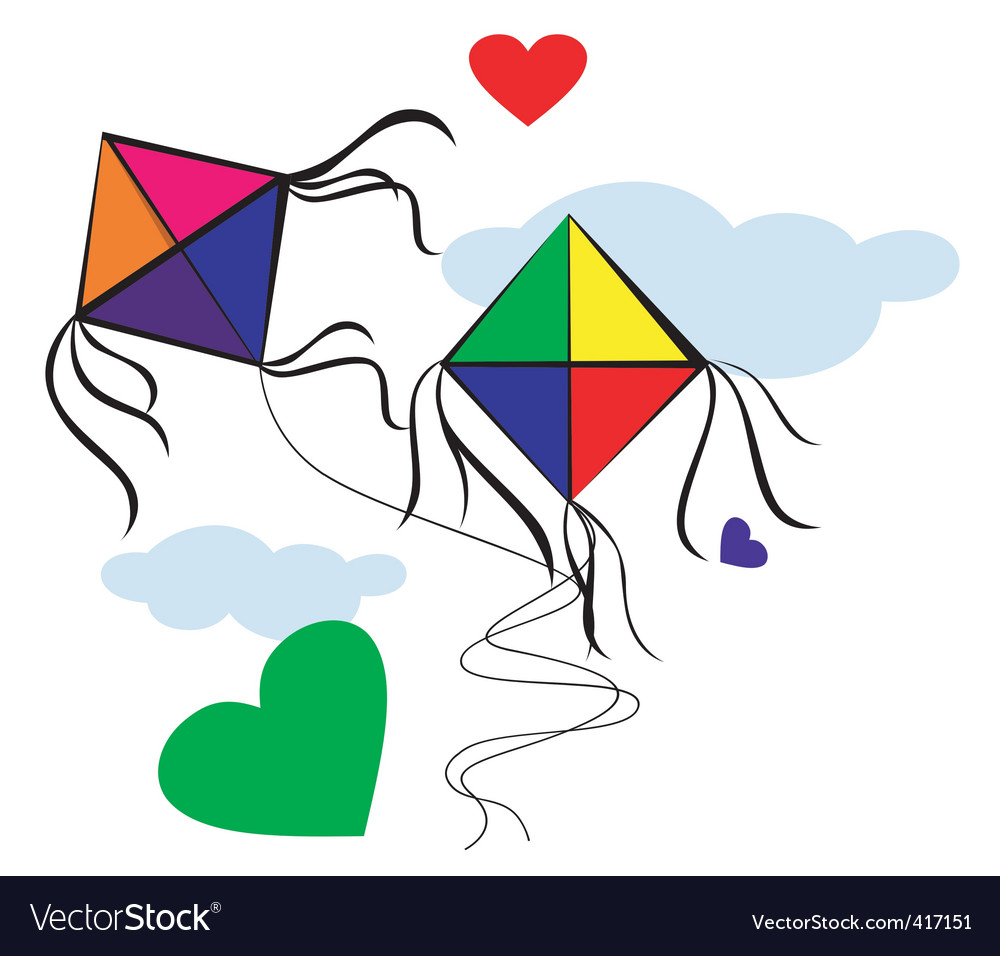 Kites with love vector | Price: 1 Credit (USD $1)