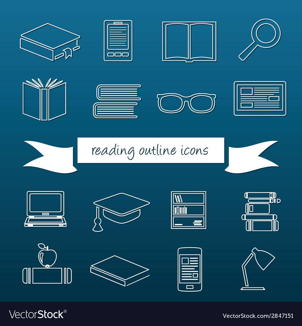 Reading outline icons vector | Price: 1 Credit (USD $1)