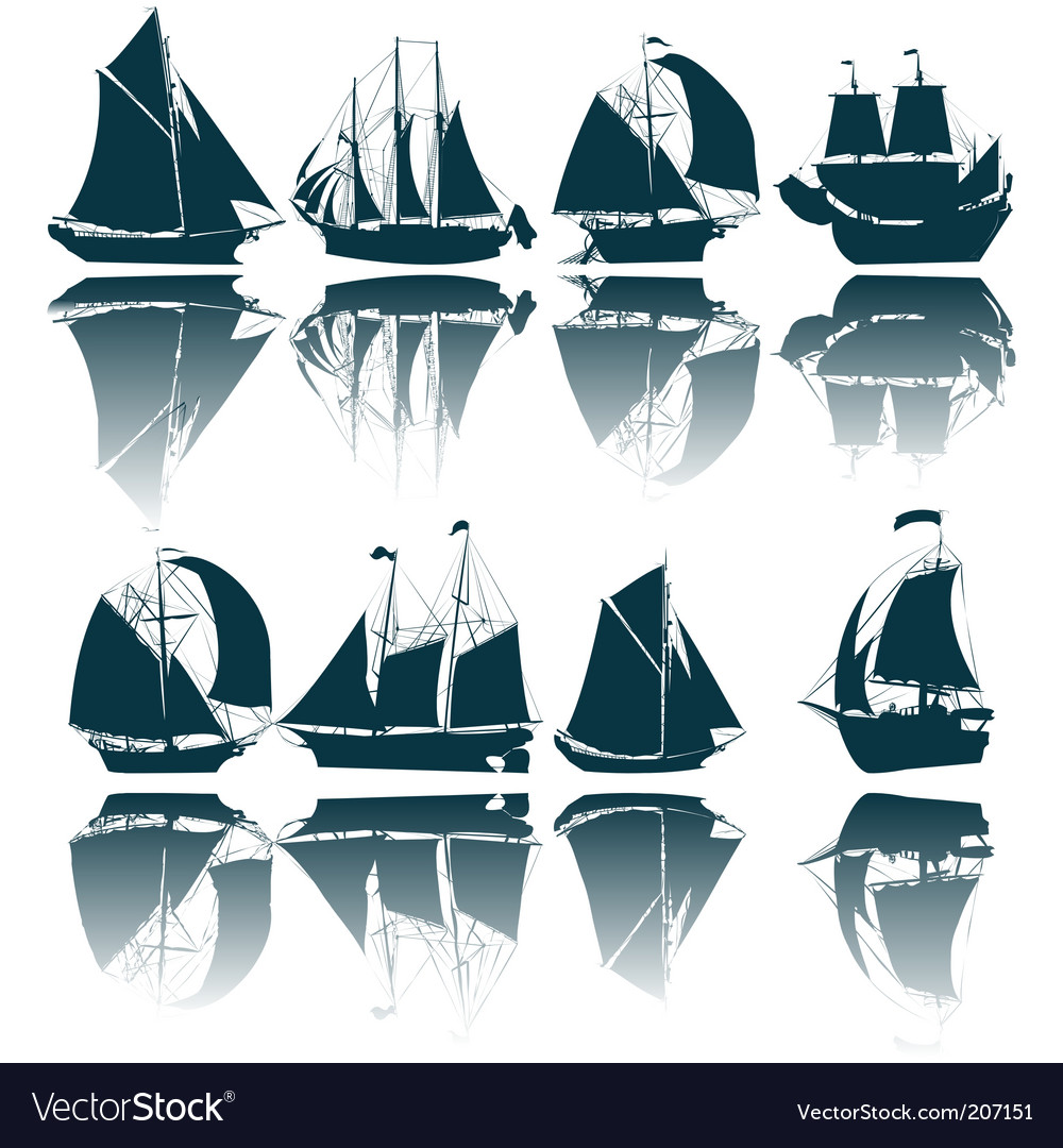 Sailing ship silhouettes vector | Price: 1 Credit (USD $1)