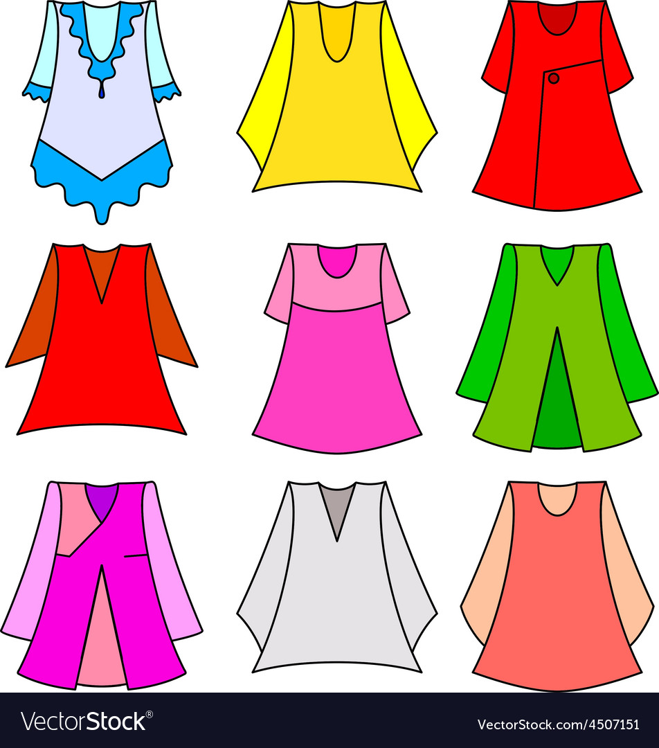 Set of fashionable dresses for girl vector | Price: 1 Credit (USD $1)