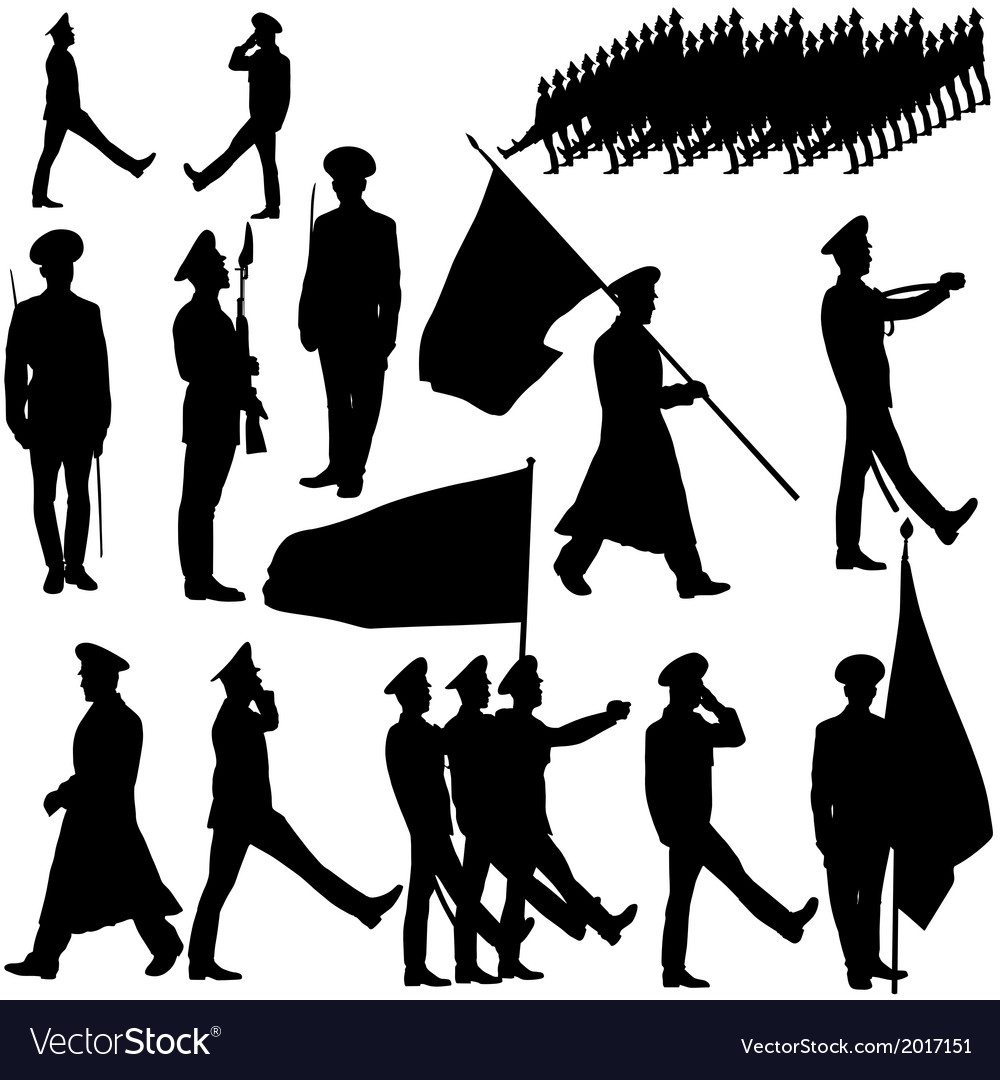 Silhouette military people collection vector | Price: 1 Credit (USD $1)