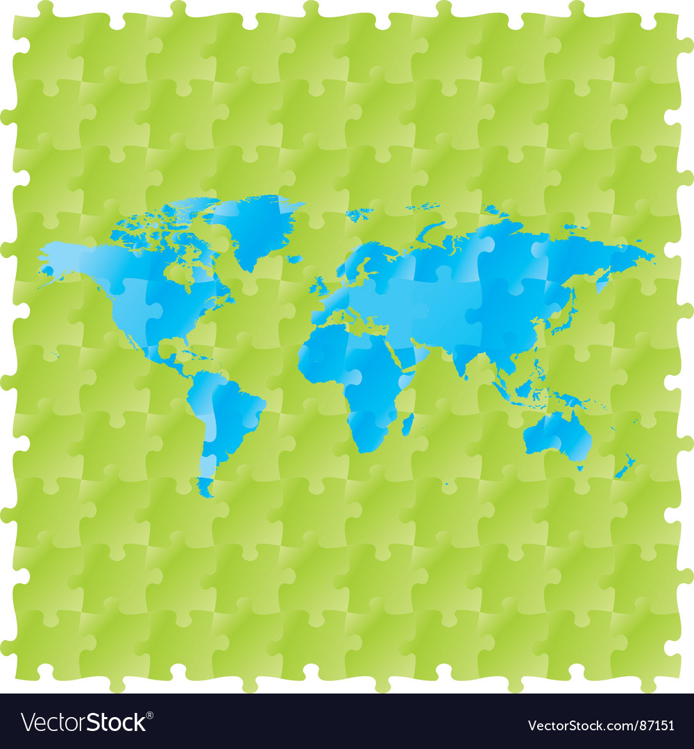 World maps with puzzle pattern vector | Price: 1 Credit (USD $1)
