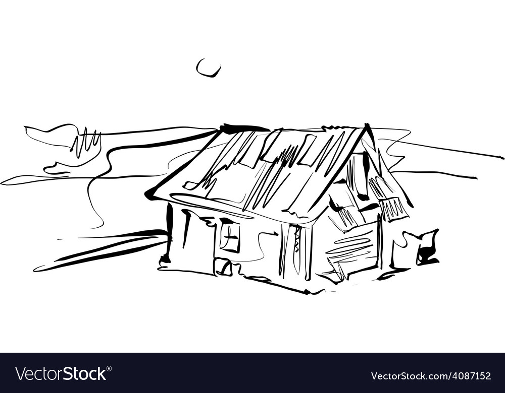 Black and white hand drawn house country house vector | Price: 1 Credit (USD $1)