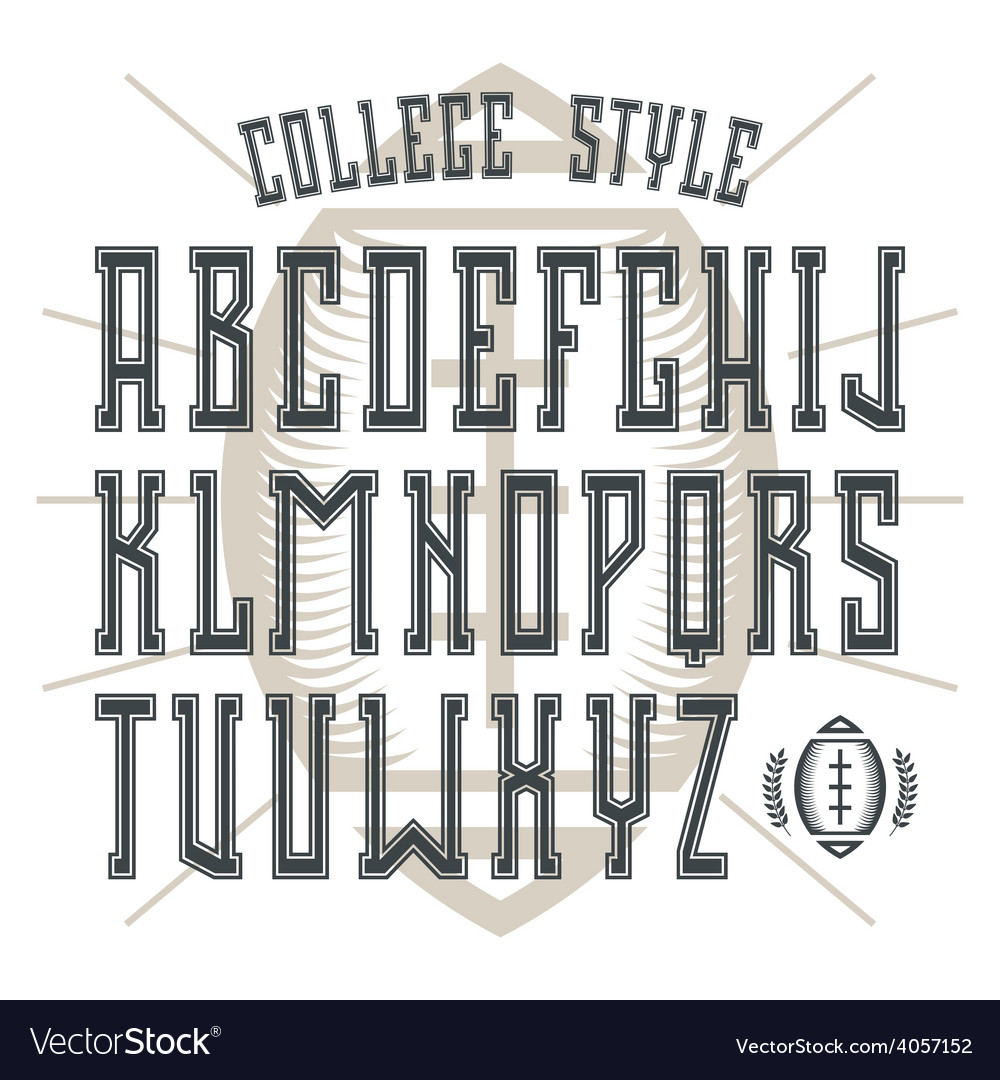 Bold serif font in college style with contour vector | Price: 1 Credit (USD $1)