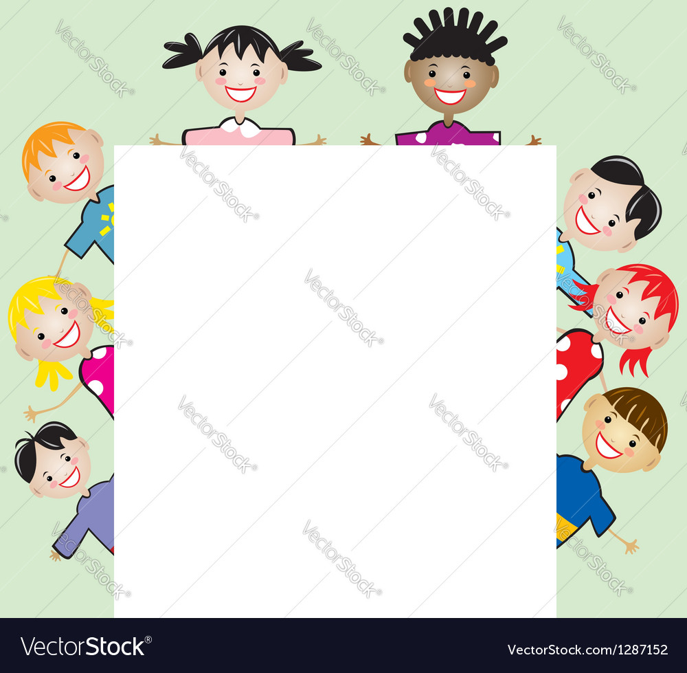 Children holding blank paper vector | Price: 1 Credit (USD $1)