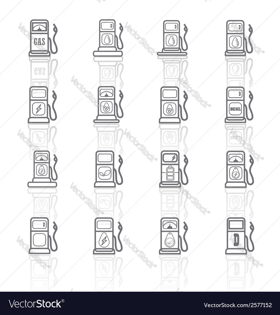 Gas pump icons eps 10collection vector | Price: 1 Credit (USD $1)