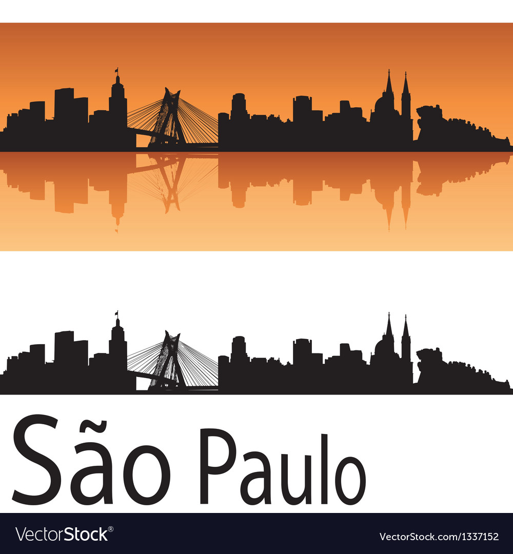 Sao paulo skyline in orange background vector