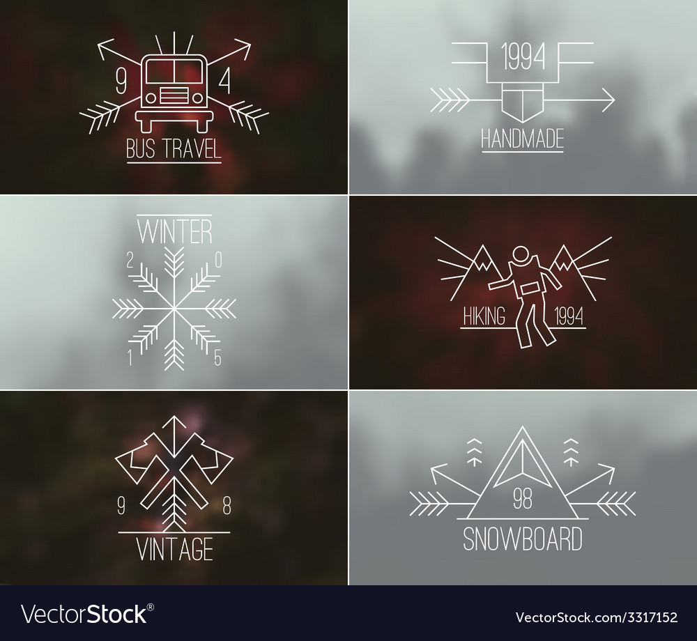 Set of retro vintage badges and blurred background vector   Price: 1 Credit (USD $1)