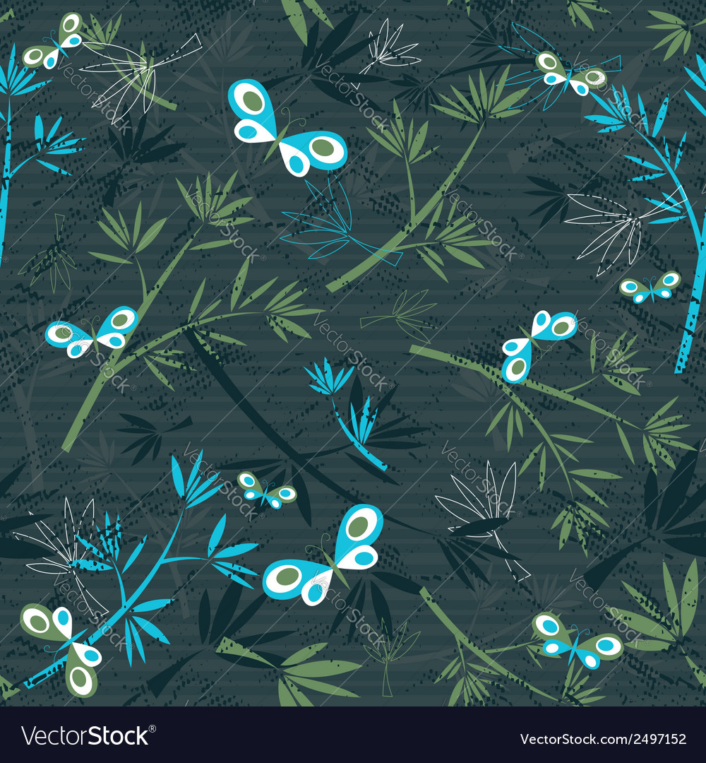 Texture of bamboo spray and butterflies on grey ba vector | Price: 1 Credit (USD $1)