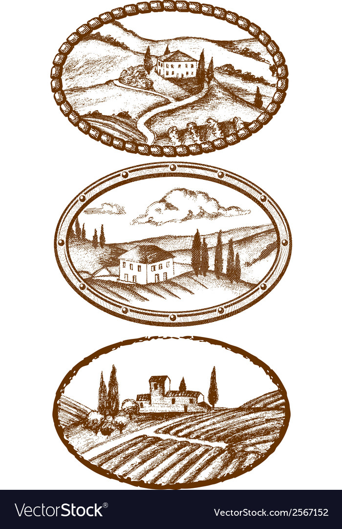 Tuscany landscapes vector | Price: 1 Credit (USD $1)