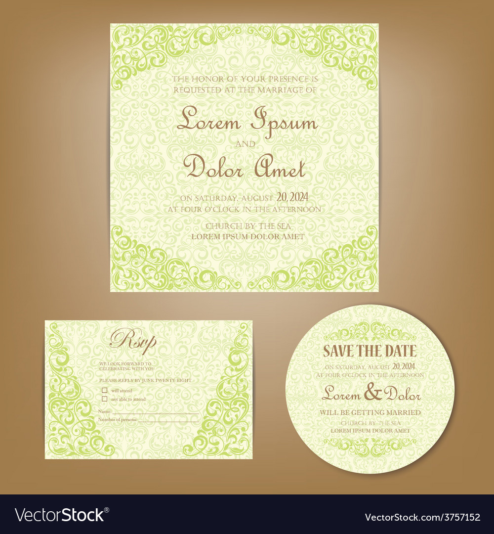Wedding set green vector | Price: 1 Credit (USD $1)