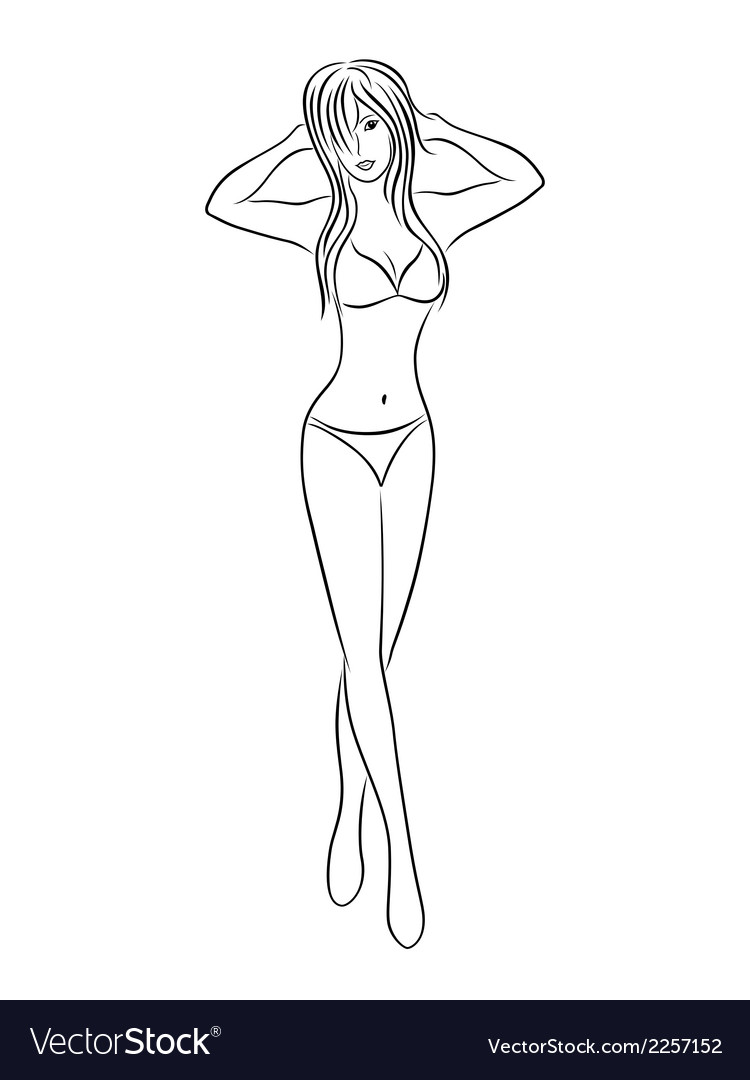 Young slim woman in bikini vector | Price: 1 Credit (USD $1)