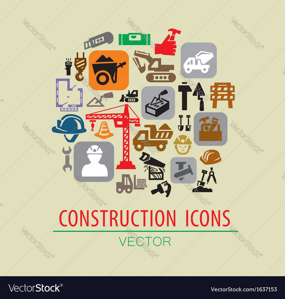 Construction icon set vector | Price: 1 Credit (USD $1)