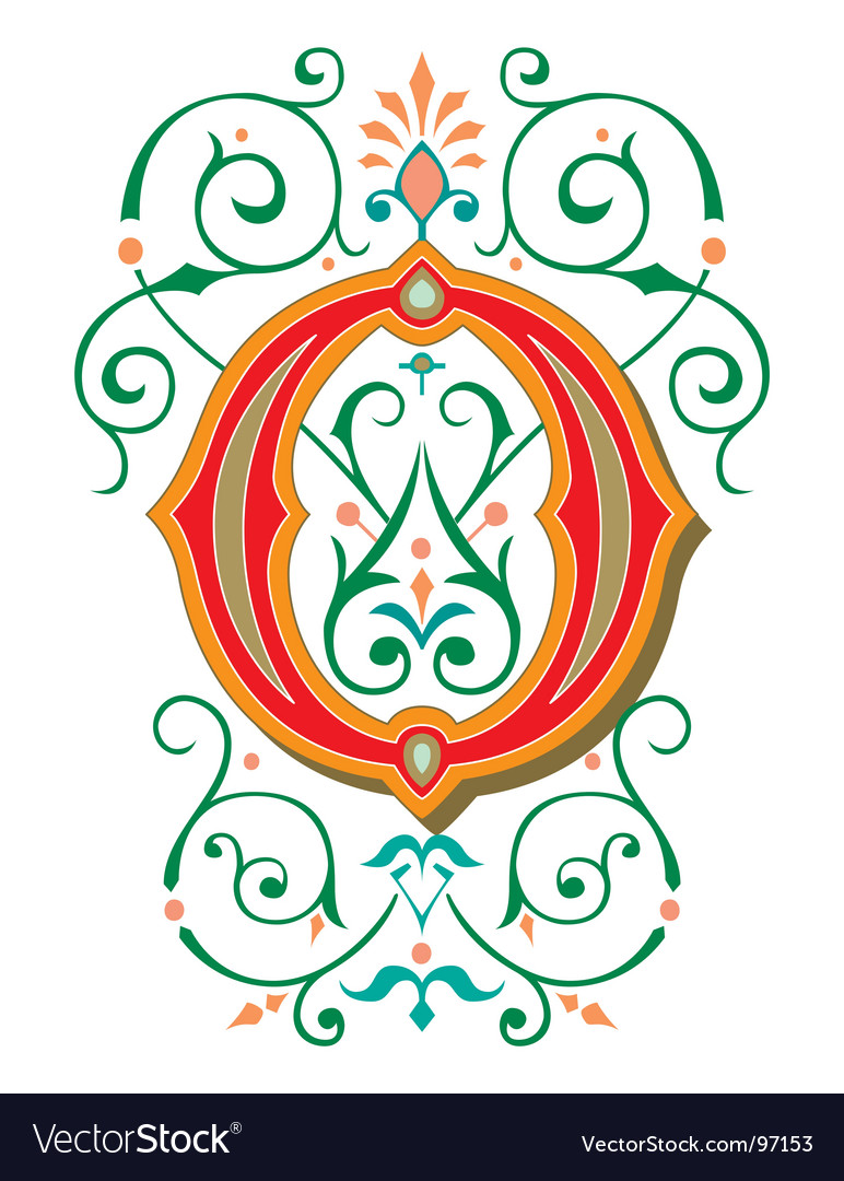Floral letter o vector | Price: 1 Credit (USD $1)