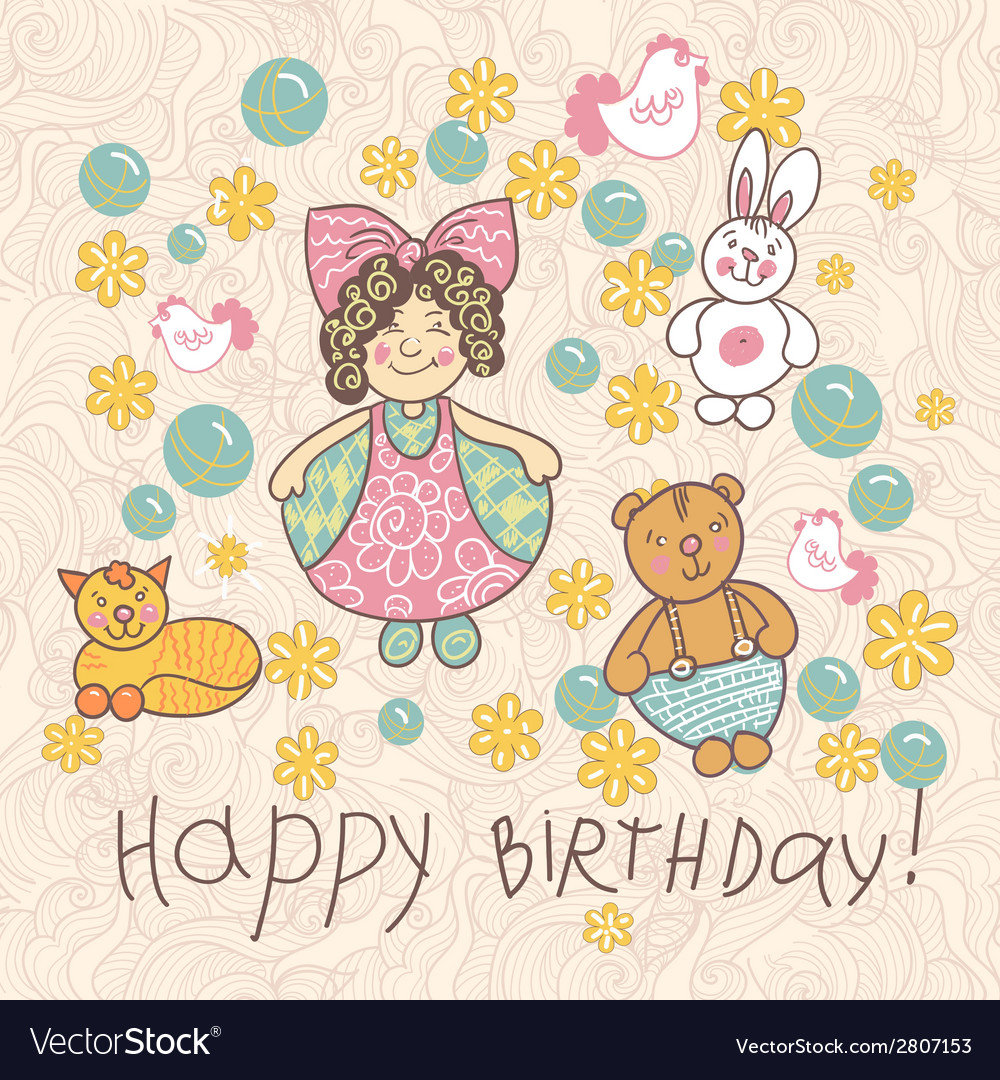 Happy birthday girl doodle vector | Price: 1 Credit (USD $1)
