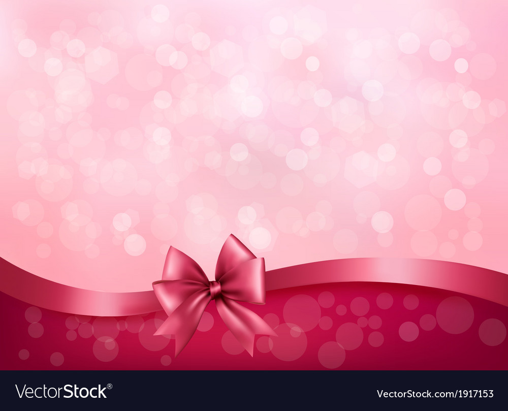 Holiday pink background with gift glossy bow and vector