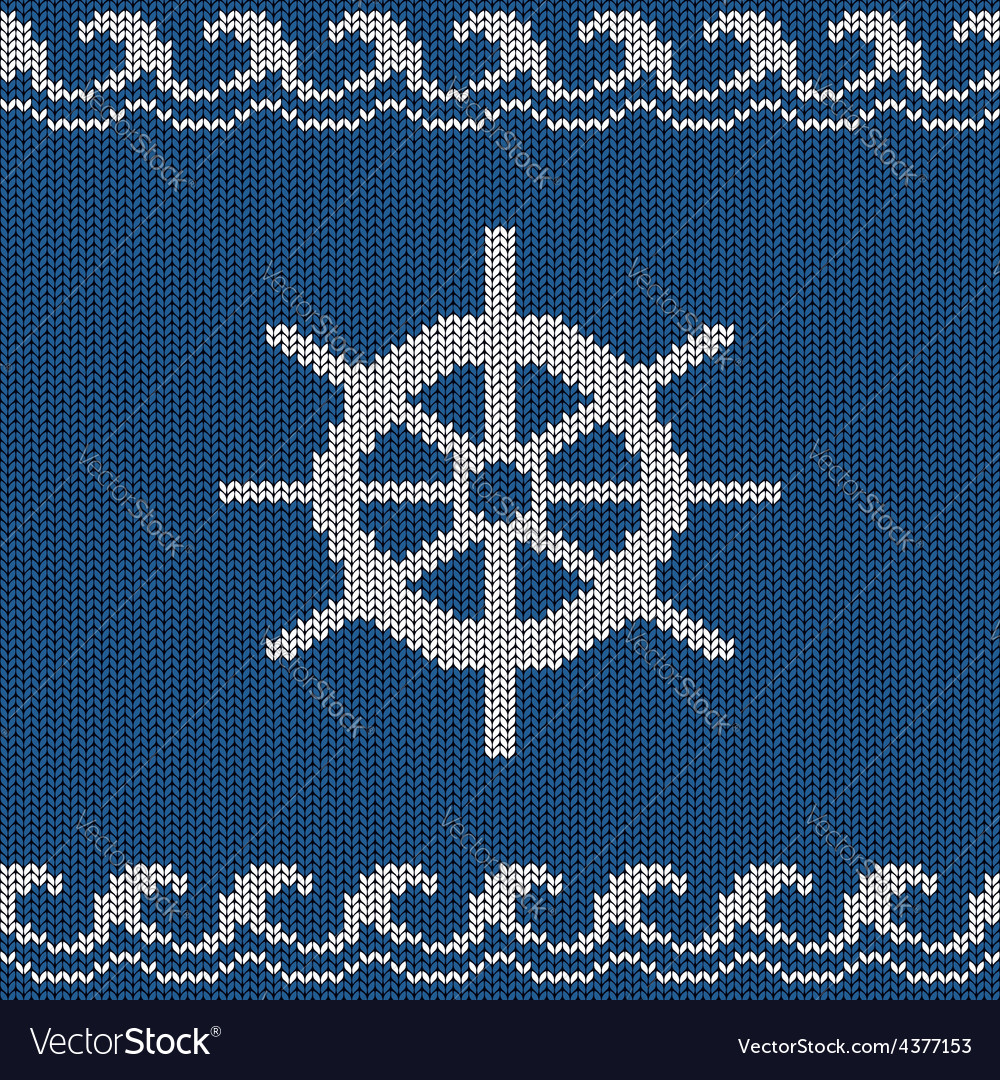 Knitted seamless pattern with sea wheel vector | Price: 1 Credit (USD $1)