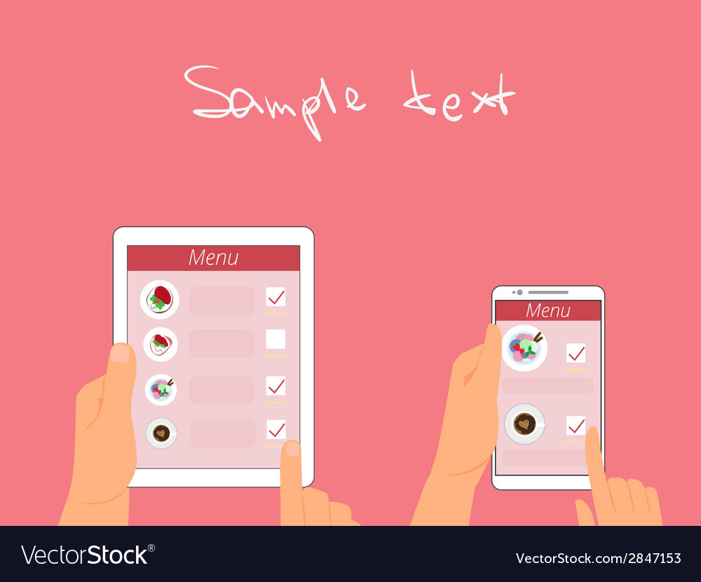 Man and woman are ordering food using gadgets in vector | Price: 1 Credit (USD $1)