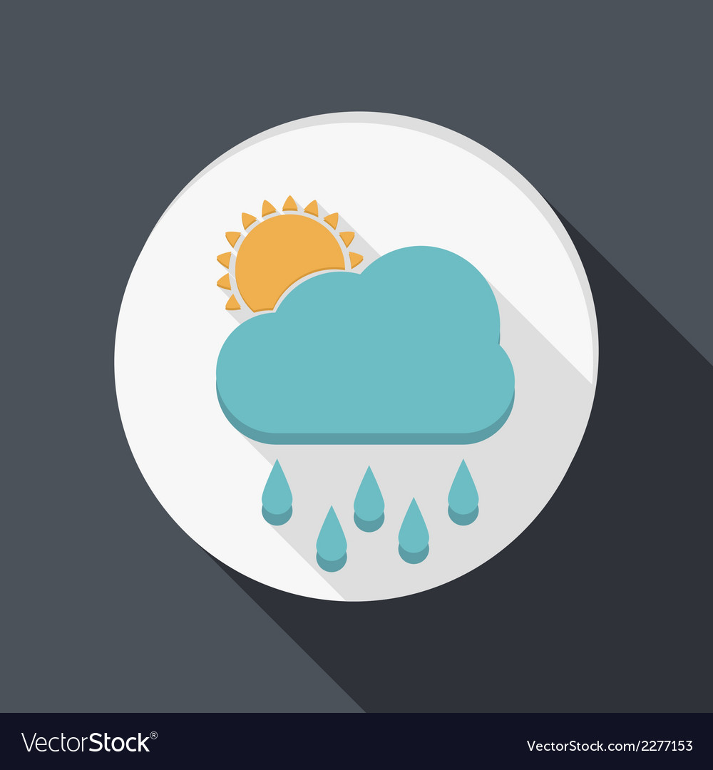 Paper flat icon cloud rain vector | Price: 1 Credit (USD $1)