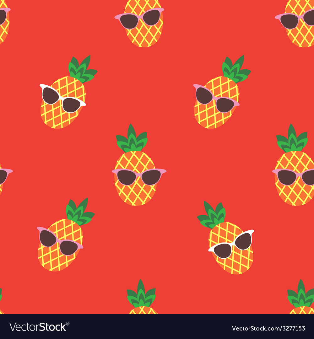 Seamless print with cute pineapple character vector   Price: 1 Credit (USD $1)
