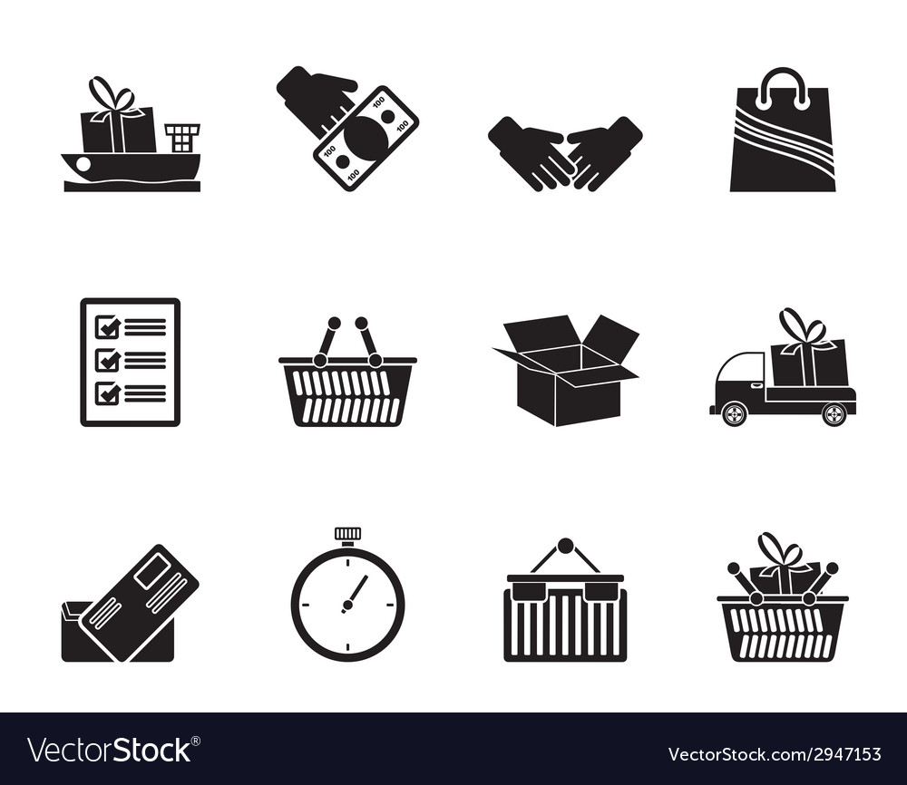 Silhouette shipping and logistic icons vector | Price: 1 Credit (USD $1)