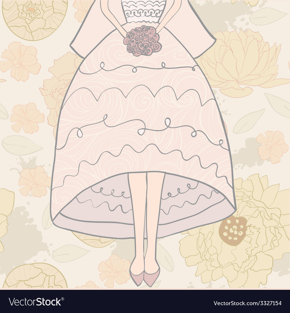 Brideandflowerpat vector | Price: 1 Credit (USD $1)