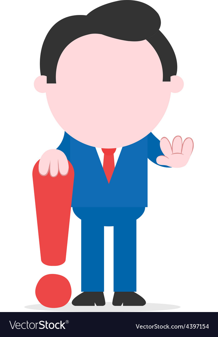Businessman leaning on exclamation mark vector | Price: 1 Credit (USD $1)