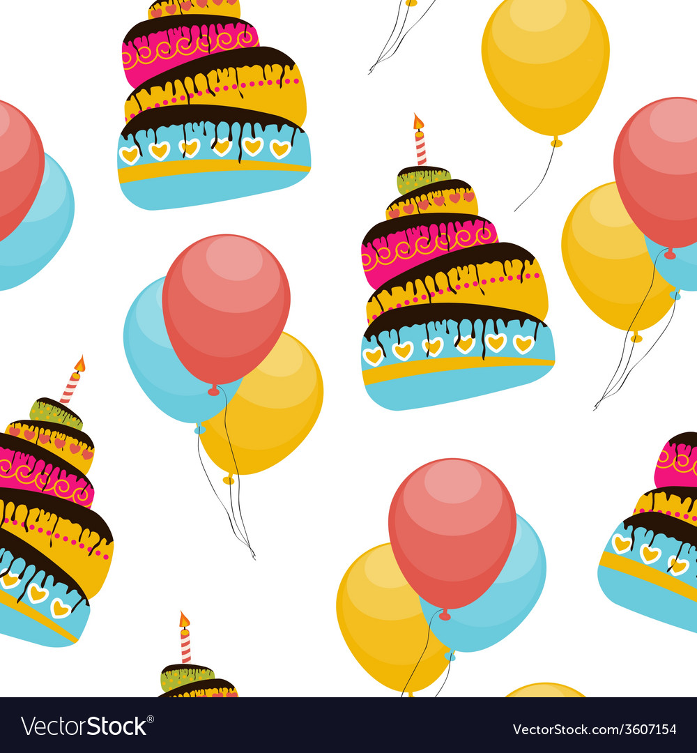 Cake and balloons holiday seamless pattern vector | Price: 1 Credit (USD $1)