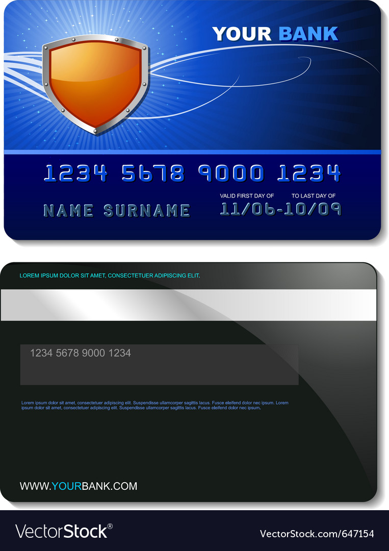 Credit card template detailed with orange shield vector | Price: 1 Credit (USD $1)
