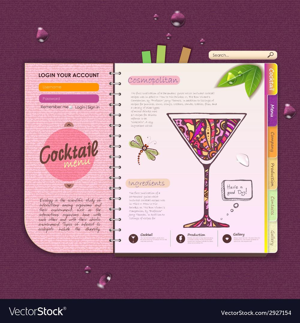Decorative cocktail menu vector | Price: 1 Credit (USD $1)