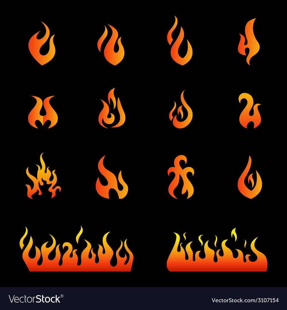 Fire flames set icons vector | Price: 1 Credit (USD $1)