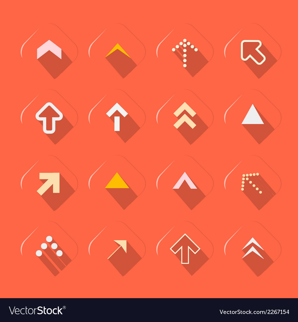Flat design arrows set on red background vector | Price: 1 Credit (USD $1)