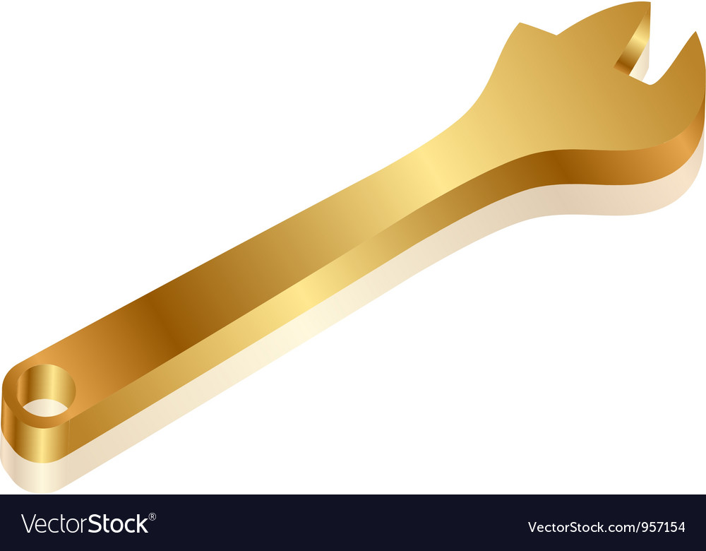 Gold wrench vector | Price: 1 Credit (USD $1)