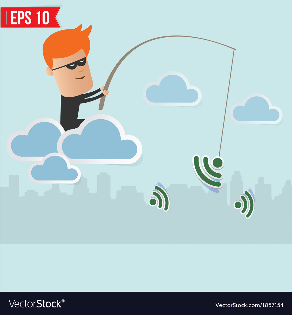 Hacker sniff wireless network fishing concept vector | Price: 1 Credit (USD $1)