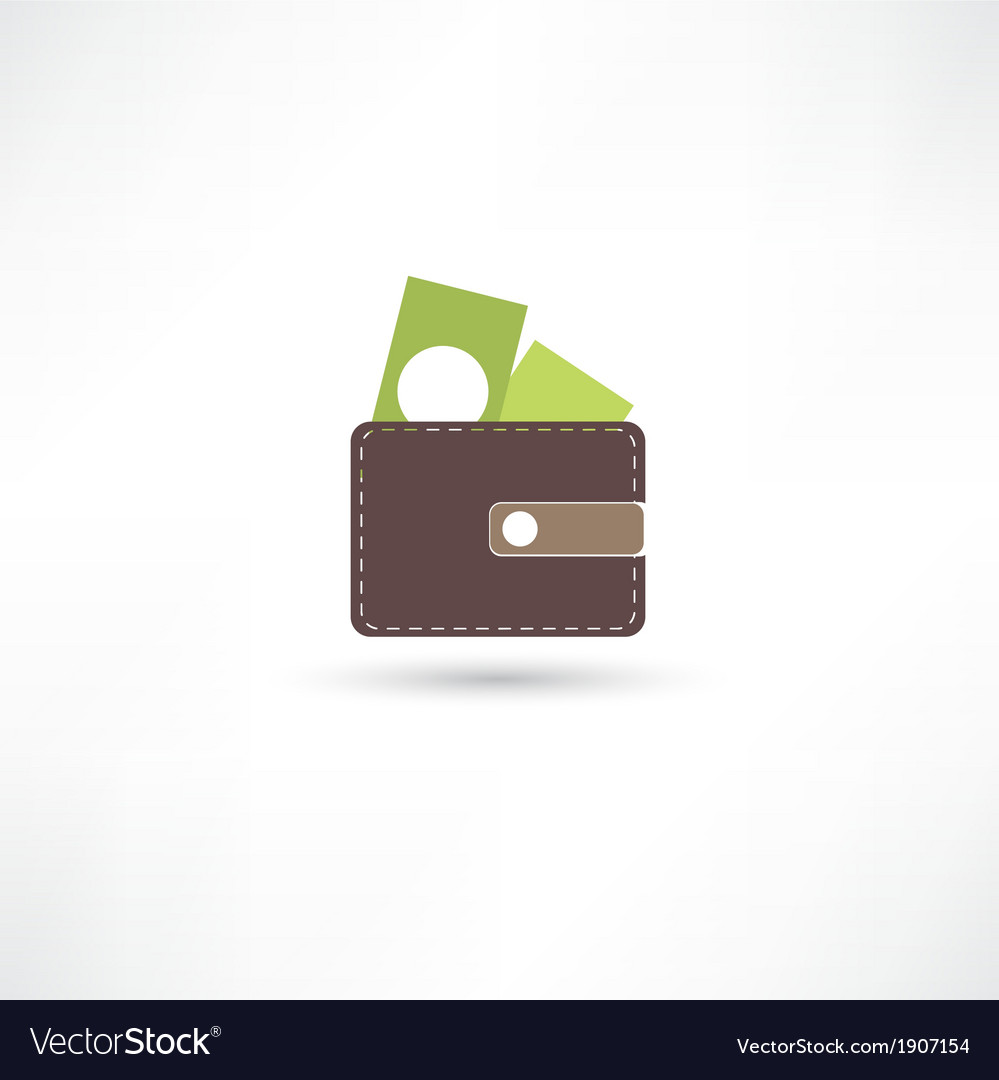 Purse and green money vector | Price: 1 Credit (USD $1)