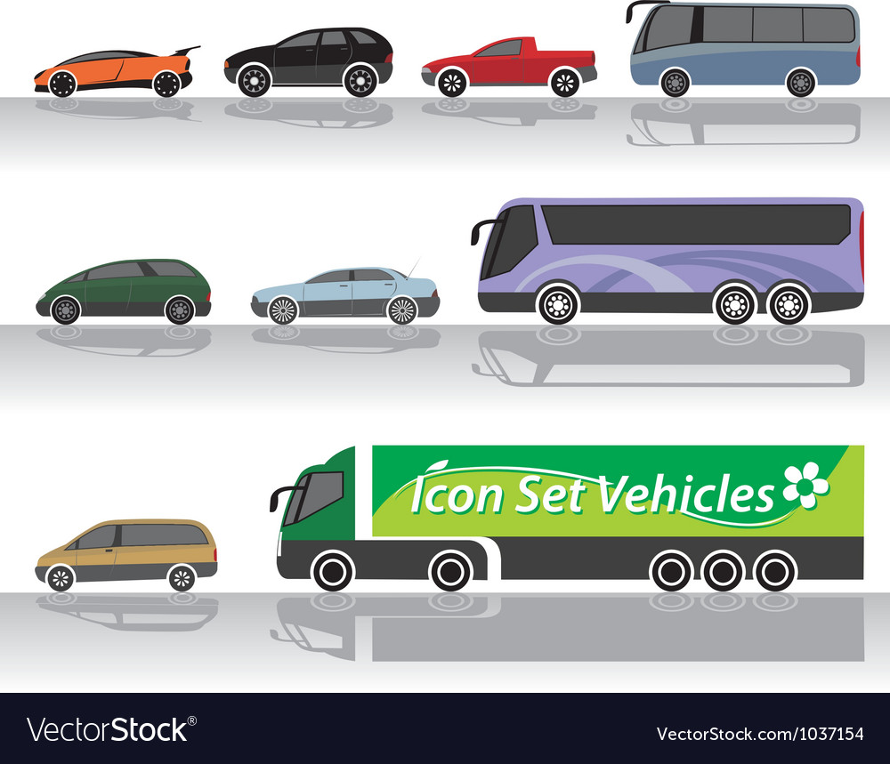 Vehicles icon set vector | Price: 1 Credit (USD $1)