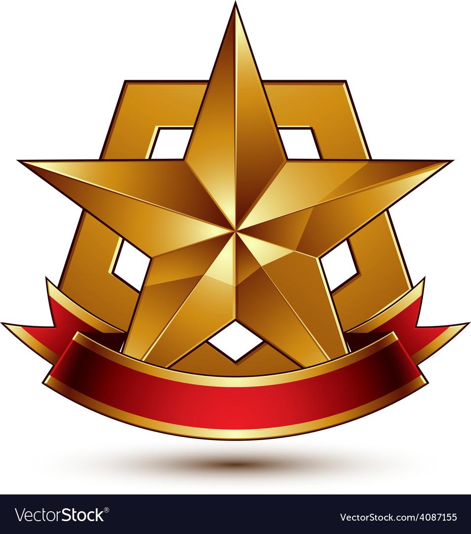 3d golden heraldic blazon with glossy pentagonal vector | Price: 1 Credit (USD $1)