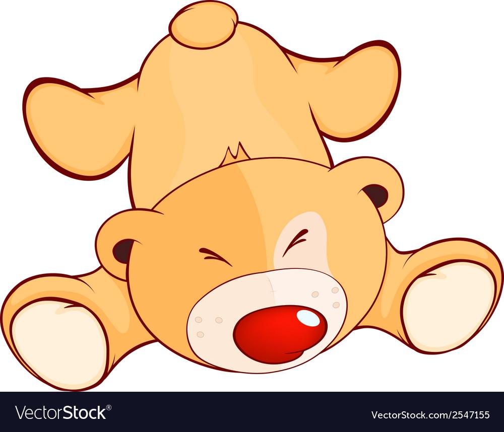 A fallen stuffed toy bear cub cartoon vector | Price: 1 Credit (USD $1)