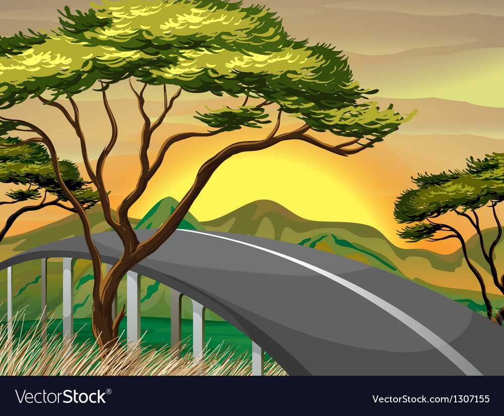 A narrow road near the mountains vector | Price: 1 Credit (USD $1)