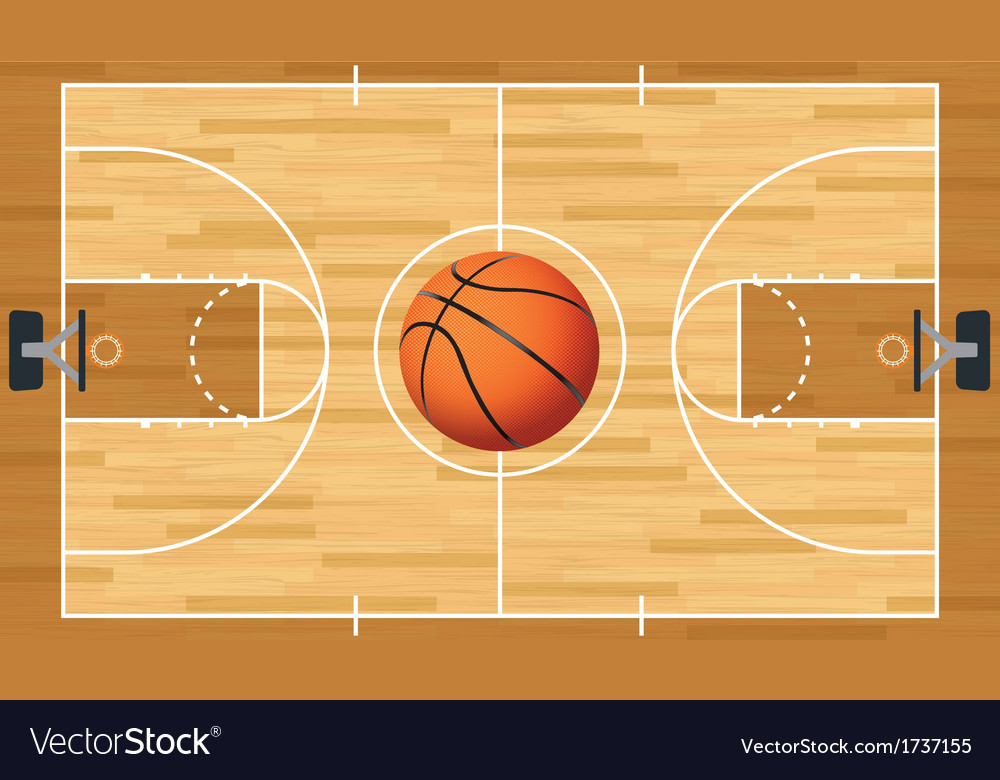 Basketball court and ball vector