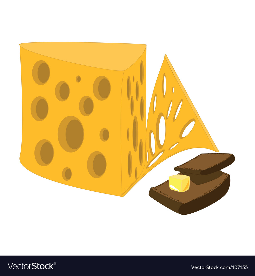 Cheese and bread with butter vector | Price: 1 Credit (USD $1)